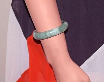 "Memorial Day Sale Genuine Jade Jadeite Bangle Bracelet Translucent Green White - Measures 59 mm (2-5/16"") inside"