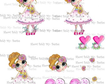 INSTANT DOWNLOAD Digital Digi Stamps Sweet Mary Lou  3D Decoupage kit Besties Big Head Dolls Digi By Sherri Baldy
