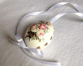 White Egg Madeira and Wax Decorated Flower-Decoupage