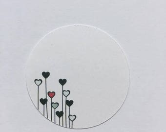 "Round label ""hearts stems"" 12 pcs"