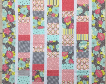 Quilt top - patchwork, unfinished quilt, quilt top only - baby/lap/stroller quilt top - ready to ship