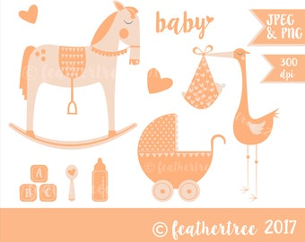 Instant Download -Modern Baby themed clipart - Rocking Horse - Stork - Pram - Apricot - Contemporary 300dpi JPEG and PNG