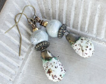 Bronzy Droplet Earrings - Ceramic Earrings - Antiqued Brass Earrings, boho earrings, boho jewelry, clay earrings, bronze earrings