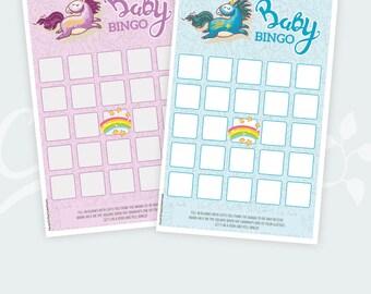 Baby Shower Bingo Printable Cards, Baby Bingo, Girl, Boy, Instant Download, Confetti, Pink, Ligth blue, Digital PDF, Shower Activity Fun
