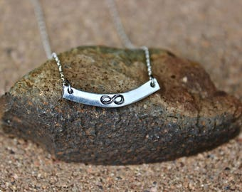 Infinity Silver Curved Bar Necklace, Bridesmaid Necklace, Infinity Necklace, Bridesmaids Silver Necklace, Infinity Necklace, Layer Infinity