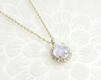 Bridal necklace pendant, bridal crystal necklace pink opal, wedding necklace, wedding pendant, crystal pendant, bridemaid jewelry necklace