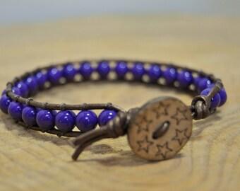 Purple bead leather wrap bracelet - Grapeful - bohemian style bracelet, stack, bamboo button