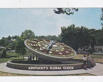 Vintage 1961 post card floral clock Capital grounds Frankfort Kentucky