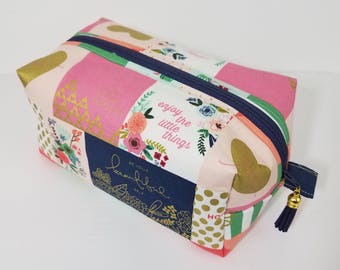 Gorgeous Boxy Bag - Make Up Bag - Cosmetic Bag - Bridesmaid Bag -Travel Bag