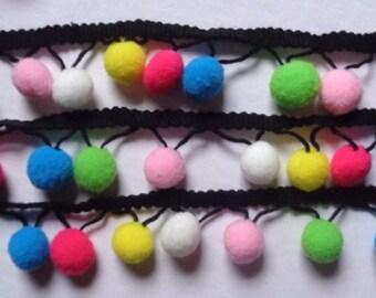 1 inch wide  Pom Pom Trim Ball Fringe Ribbon select length