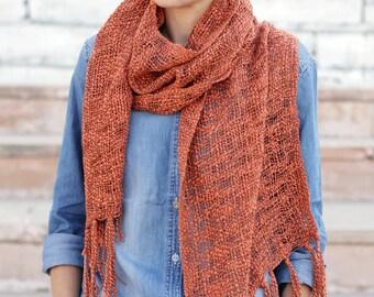 Knitted orange scarf, long crochet scarf, narrow scarf, cotton silk scarf, long scarf, handmade scarf, unisex scarf, soft scarf, scarf