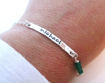 One Stacking Name Bracelet - Dainty Sterling Silver Gemstone Jewelry - Layering Bracelets -