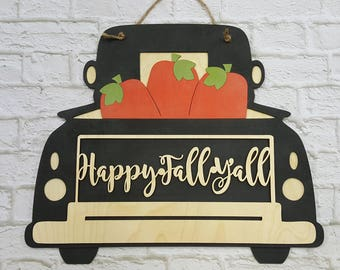 Happy Fall Y'all Fall Door Hanger - Pumpkin Wreath - Antique Truck With Pumpkins - Vintage Truck
