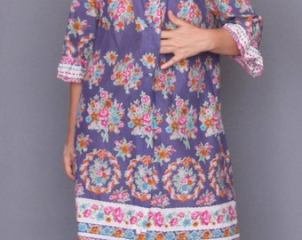 60s St Michael floral robe dress Novelty print cotton dress Mid century printed dress Rob dress Floral house dress Summer robe dress