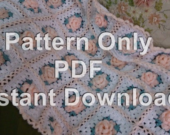 PDF Instant Download Crochet Pattern for Shabby Chic Roses Granny Square Afghan with 3 Dimensional Roses. Pattern for Throw Rug
