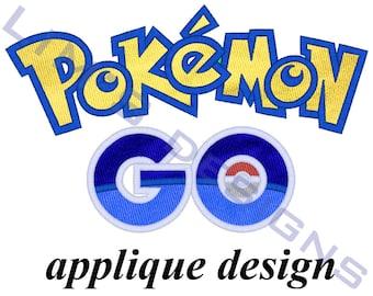 """APPLIQUE Pokemon Go Logo machine embroidery design- 3 sizes 4x4"""", 5x7"""", 6x10"""""""