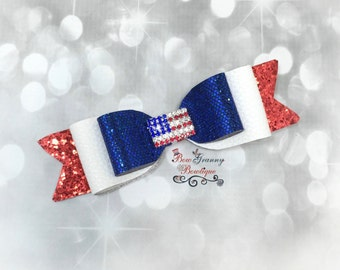 Red White and Blue Glitter Hairbow, Glitter Bow, July 4th Bow, Memorial Day Bow, Over the Top Bow, 4th of July Bow, Patriotic Bow,  Flag Bow