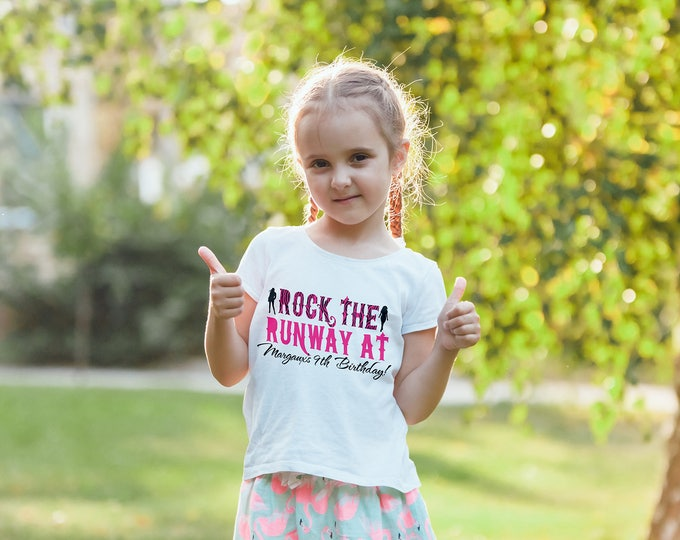 Birthday T-shirt, Fashion party, Runway, rockstar, birthday t-shirt , rock star birthday, rock star birthday, party favor, rock the runway
