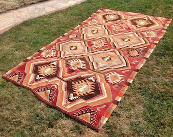 """Red Kilim rug, 112"""" x 60"""", Vintage Turkish kilim rug, area rug, kilim rug, kelim rug, vintage rug, bohemian rug, Turkish rug, rug, red, 705"""