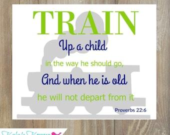 TRAIN NURSERY DECOR - Train Nursery Art - Bible Verse Nursery Decor - Proverbs 22:6 - Nursery Poster 11 x 14