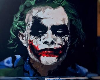 Joker The Dark Knight Heath Ledger Acrylic Painting NOT a Print