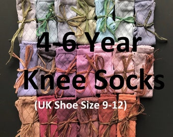 HAND DYED Knee socks in a range of beautuiful colours with diamond pattern! 4-6 year