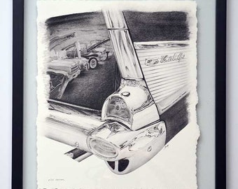 57 Chevy Bel-Air Tail Fin pencil drawing - limited edition print by James Becker
