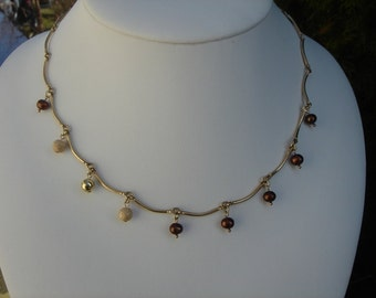 Rod chain in gold 585 (14 K) with freshwater cultured pearl!