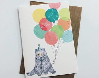Birthday Bear With Balloons
