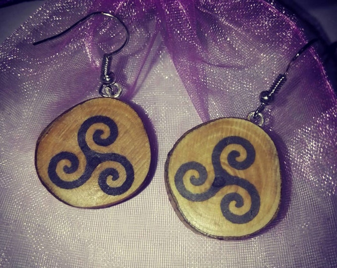 Triple Spiral Viking Pagan Necklace / Earrings Wooden Charm Brown  Eco Friendly Handmade Personalised Charms Wood Hand made Jewellery #Etsy