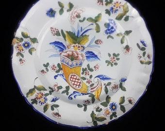 Antique ST. CLEMENT Faience Cornucopia Plate - 1892-1900 - France