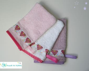 """set of 3 washcloth """"TRIO Super Heroine"""" for babies and young children"""