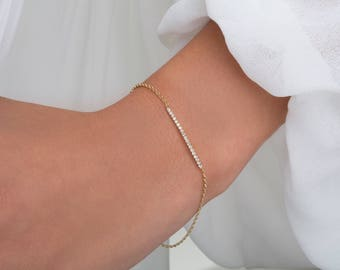 Diamond bar bracelet, Dainty diamond bracelet, Black diamond bracelet, Bar bracelet, Delicate bracelet, Chain bracelet,  Diamond bracelet