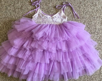Lavender Long Lace Dress, Purple flower Girl, Beige Tulle, Lilac Layer Cake Dress, Ballet Tutu, First Birthday, Long Tulle Gown