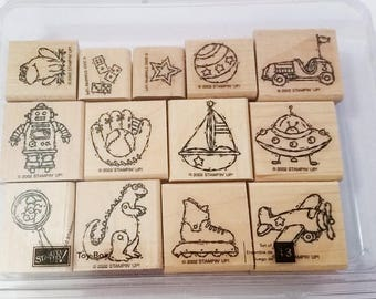 Toy Box Stamps - Stampin Up - Set of 13 - Wood Mounted - Sailboat-Baseball Glove - Robot - Dinosaur - Never Used - Kid's Toys - Card Making