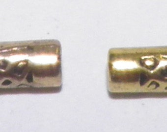 ON SALE  Gold Metal Cylinder Beads
