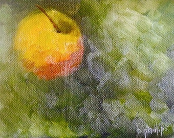 Lonely Apple, Original 5x7 Oil Painting on Canvas