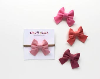 Baby Girl Bow, Sailor Bow, Baby Headband, Nylon Headband, Newborn Bows, Felt Headband, Hair Bows, Girls Hair Clips, Schoolgirl Bows, Infant