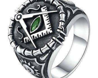 Superb Franc Mason rong, green zircon, 925 sterling silver Adjustable ring