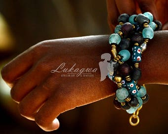 Maroon&Turquoise African Beaded necklace,Chunky African beaded Turquoise bracelet,Maroon beaded African Bracelet