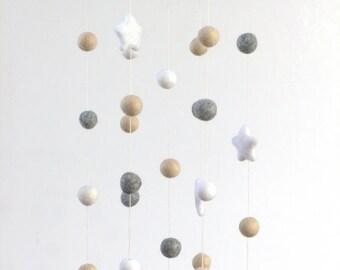 Neutral Star & Felt Ball Nursery Mobile SMALL SIZE- Almond, Gray, White-  Nursery Childrens Room Pom Pom Mobile Garland Decor