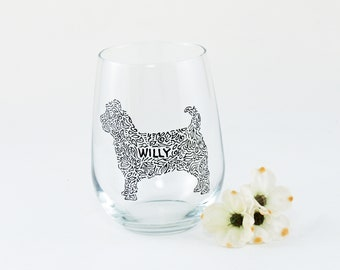 Dog wine glass / Cairn terrier / Personalized / Pet owner gift / Custom hand painted stemless wine glass