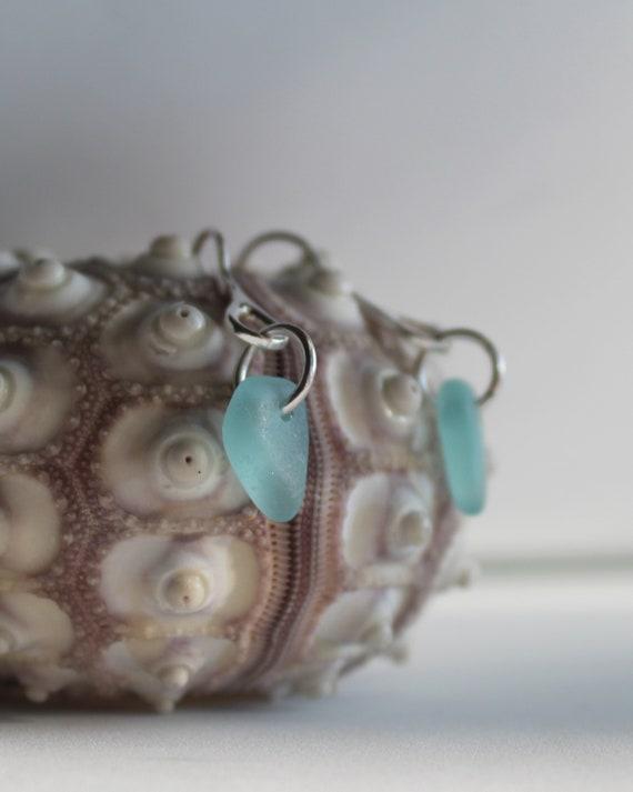 Tideline sea glass earrings in aqua