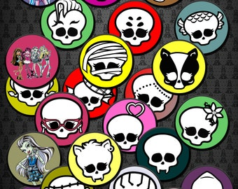 24 Monster High Birthday Party Cupcake Toppers
