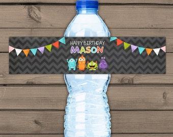Monster Water Bottle Labels Monster birthday Monster theme Bottle Label birthday Monster decor Chalkboard personalized Digital PRINTABLE