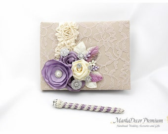 Wedding Lace Guest Book Pen Set Custom Bridal Flower Brooch Guest Books in Champagne, Tan, Lavender and Ivory
