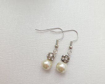 Custom order pearl and rhinestone bead earrings