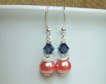 Navy Blue and Coral Earrings Swarovski Pearls and Crystals - Blue and Coral Wedding - Gold or Sterling Silver Option