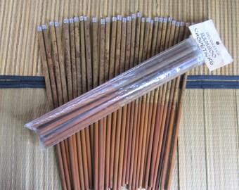 "46 Vintage Bamboo Chopsticks = 23 Sets, 8 Pair New In Pkg. Decorated & Metal Tip, Length 10 1/2"", West Coast Sales Calif, Wood Chopstick Lot"