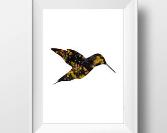 Hummingbird Print - Scandi Animal - Bird Art - Hummingbird Art - Scandi Print - Hummingbird Decor - Scandi Decor - Bird Print - Bird Decor
